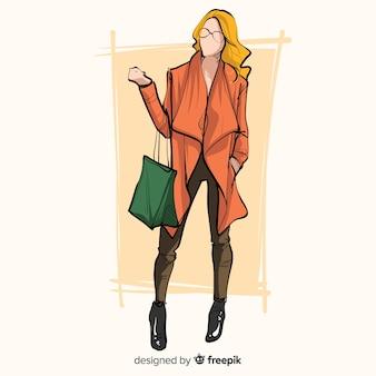 女性モデルのファッションイラスト