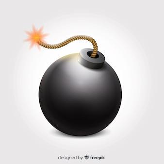 Круглая реалистичная бомба с предохранителем
