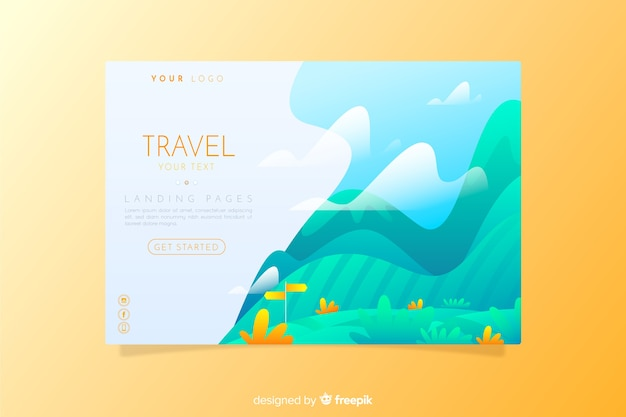 旅行のランディングページのフラットスタイル