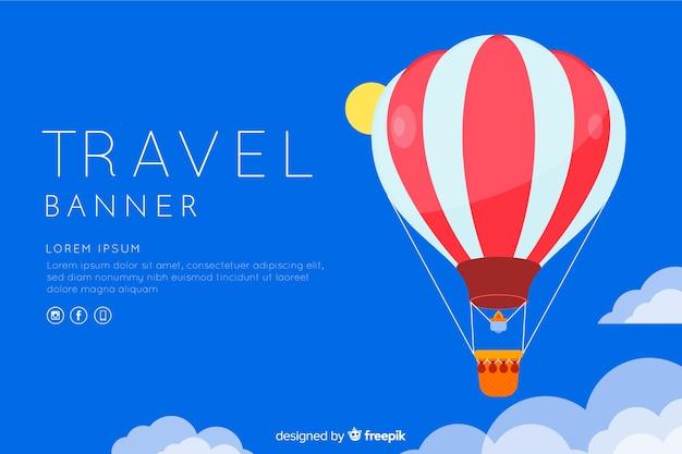 旅行バナーテンプレートフラットデザイン