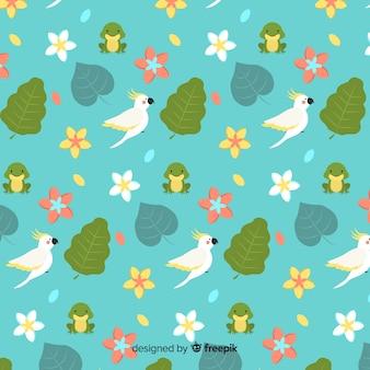 Плоские тропические листья и цветы фон