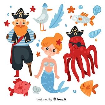 Коллекция плоских морских персонажей
