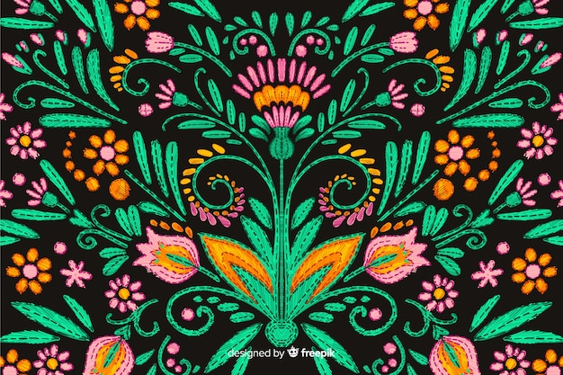 手描き刺繍花の背景