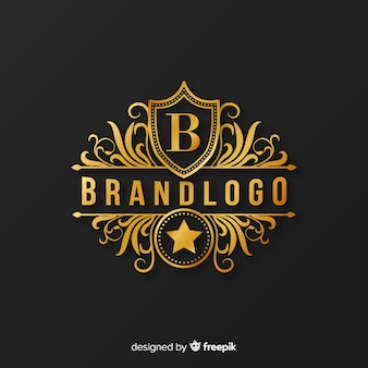 装飾品で黄金のエレガントなロゴのテンプレート
