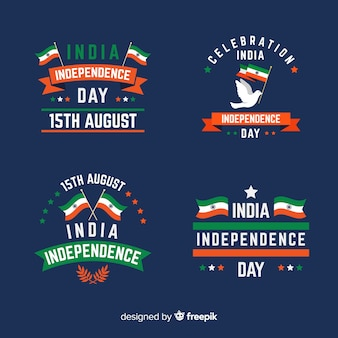 フラットインド独立記念日バッジコレクション