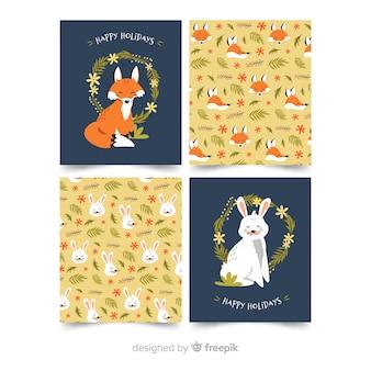Коллекция карточек животных плоский дизайн