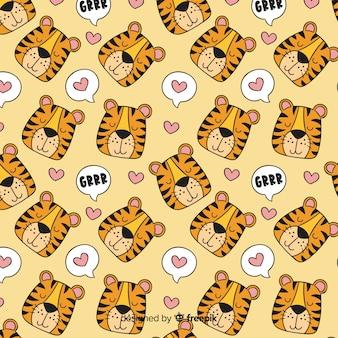 Тигр шаблон рисованной дизайн