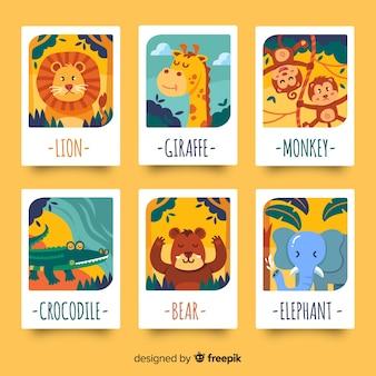 フラット野生動物カードコレクション