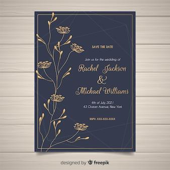 エレガントな花の結婚式の招待状のテンプレート