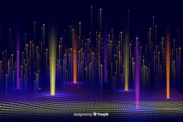技術的な光沢のある落下粒子の背景