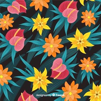カラフルな熱帯の花模様の背景