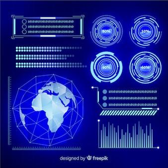 コレクションの未来的なインフォグラフィック要素