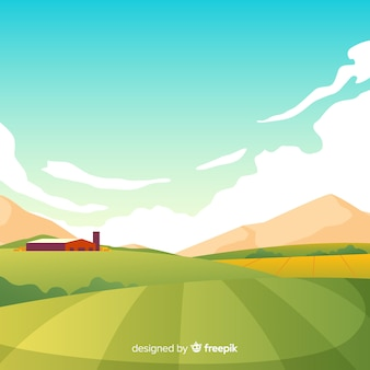 フラットデザインファーム風景の背景