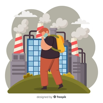 汚染概念背景フラットスタイル