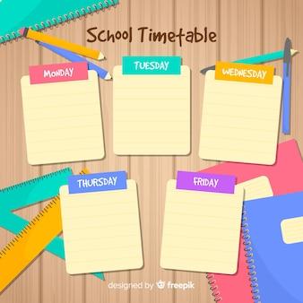Плоский дизайн школьного расписания