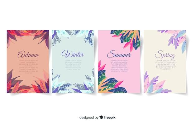 Акварель стиль сезонная коллекция плакатов