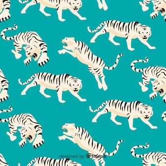 Ручной обращается старинный узор тигра