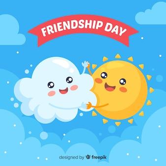 День дружбы плоский дизайн фона