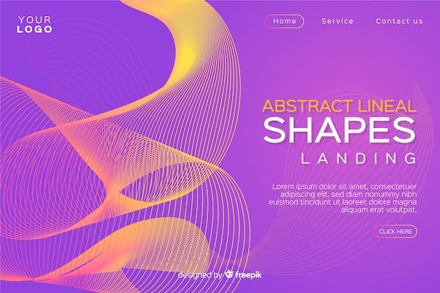 Шаблон посадочной страницы абстрактные линейные формы