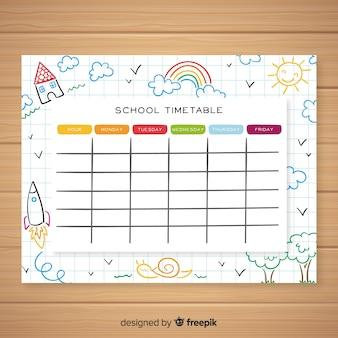 手描き学校時刻表テンプレート