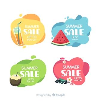 Летняя распродажа жидких баннеров шаблон