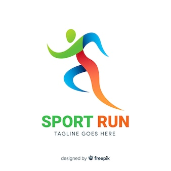 Абстрактный силуэт спорт логотип плоский дизайн
