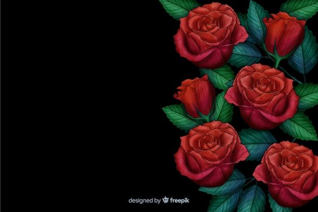 Реалистичные цветы на темном фоне