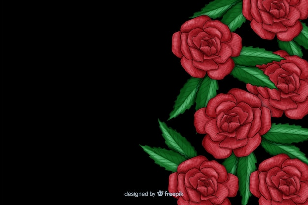 暗い背景にリアルな花