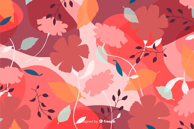 Естественный фон с красочными цветочными силуэтами