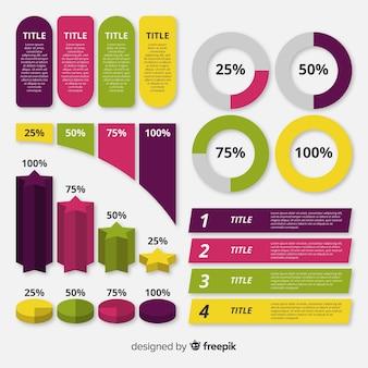 Инфографика элемент коллекции плоский дизайн