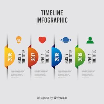 Инфографика хронология шаблон плоский дизайн