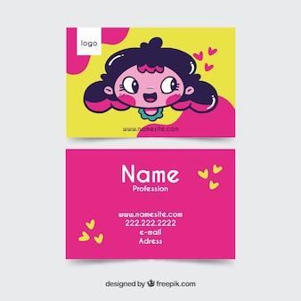 Ручной обращается каваи шаблон визитной карточки