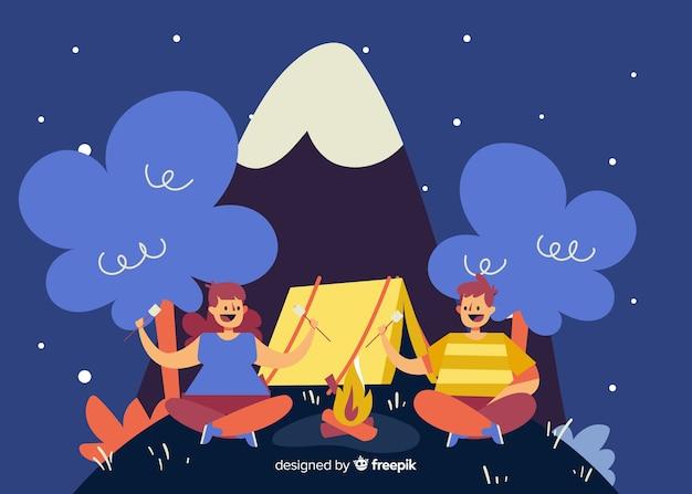 自然の中でキャンプをする人