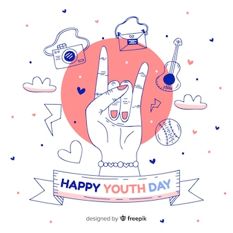手描きの若者の日の背景