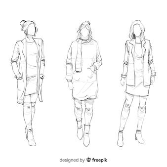 Эскиз коллекции модных моделей