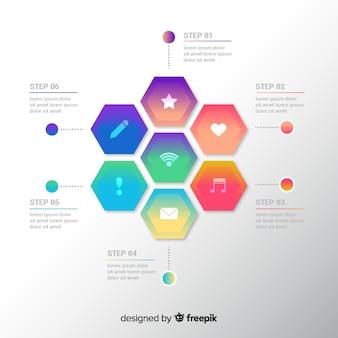 グラデーションインフォグラフィックテンプレートフラットデザイン