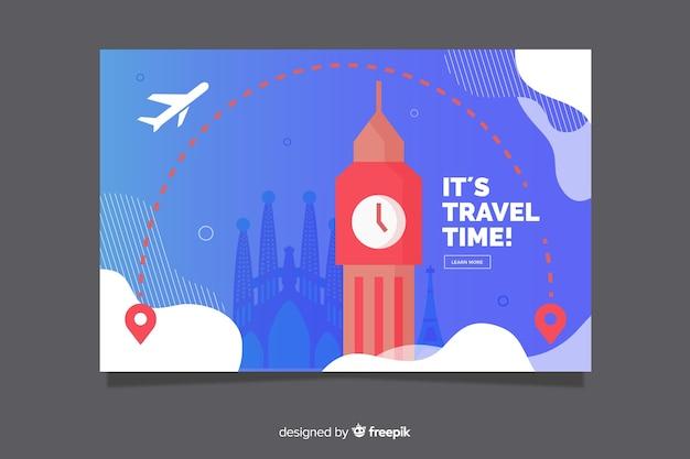 Плоский дизайн шаблона путешествия баннер