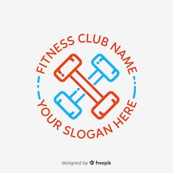 フィットネスのロゴのテンプレートフラットスタイル