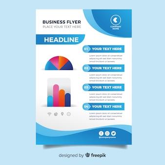 Плоский дизайн бизнес флаер шаблон
