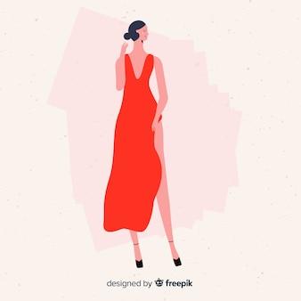 Мода иллюстрация с женской моделью