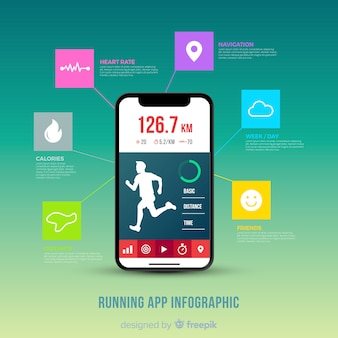 Запуск мобильного приложения инфографики плоский стиль