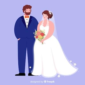 Плоский дизайн свадьбы пара фон