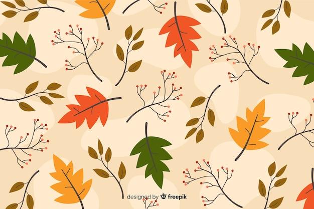Плоский дизайн осенний фон с листьями