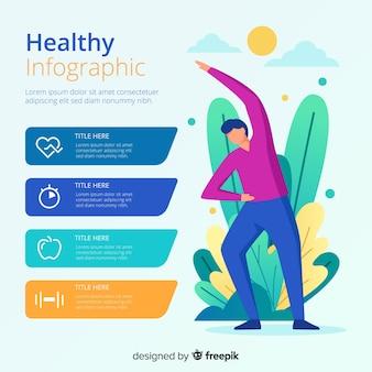 健康インフォグラフィックテンプレートフラットスタイル