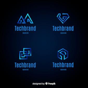 Коллекция шаблонов логотипа градиентной технологии