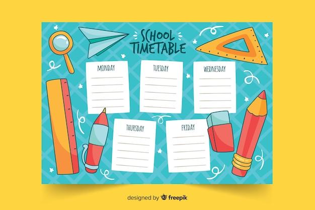 手描き学校の時刻表テンプレート