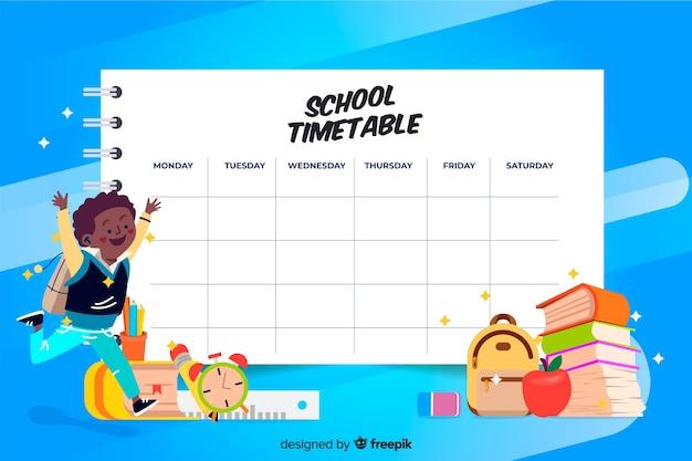 カラフルな学校の時間割テンプレートフラットデザイン