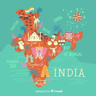 インドの手描き地図