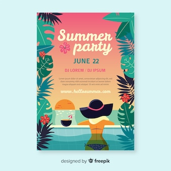 Нарисованный рукой шаблон плаката летней вечеринки