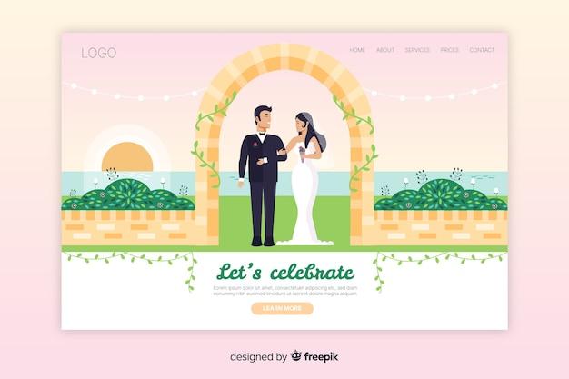 Плоский шаблон страницы посадки свадьбы